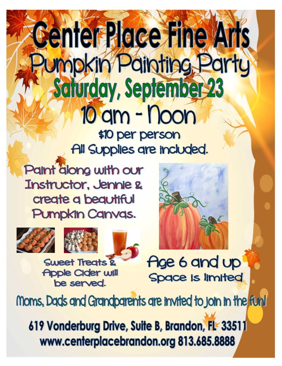 Pumpkin Canvas Painting Party @ Center Place Fine Arts and Civic Association   Brandon   Florida   United States