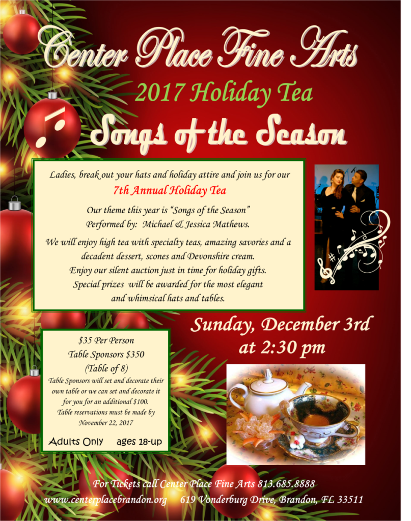 Holiday Tea - Songs of the Season @ Center Place Fine Arts and Civic Association