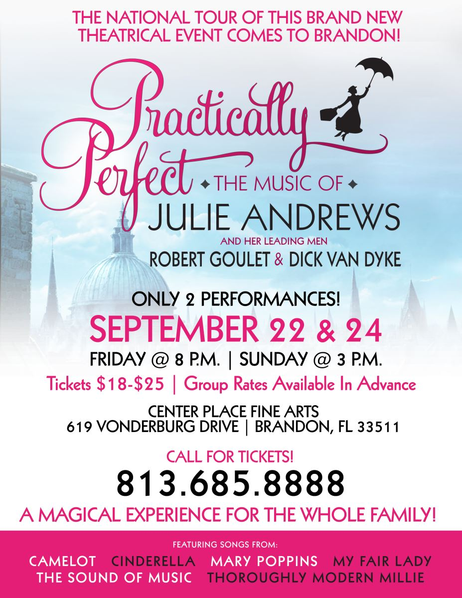 Practically Perfect - the Music of Julie Andrews - Sept. 22 @ Center Place Fine Arts and Civic Association   Brandon   Florida   United States
