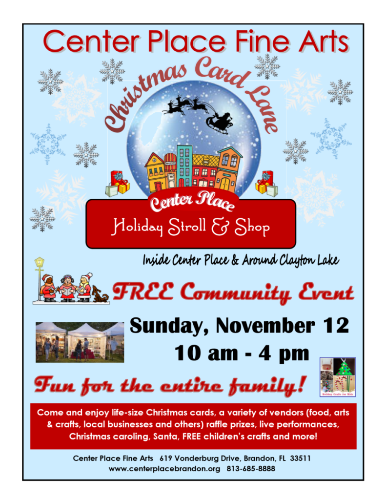 Christmas Card Lane - Holiday Stroll & Shop @ Center Place Fine Arts and Civic Association   Brandon   Florida   United States