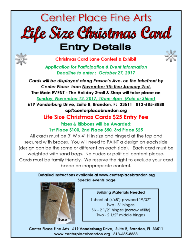 Life Size Christmas Card - Entry/performer/vendor DEADLINE  Oct. 27th @ Center Place Fine Arts and Civic Association   Brandon   Florida   United States