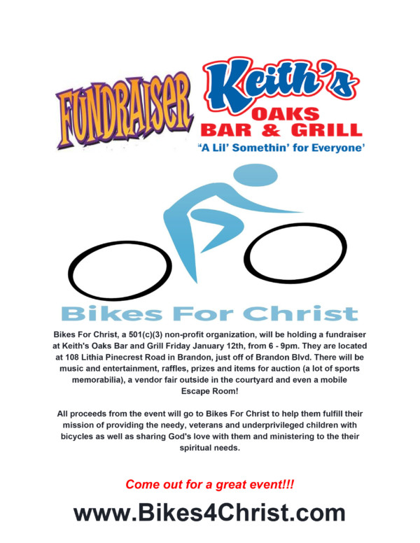 Bikes for Christ event Jan 12th! @ Keith's Oaks Bar and Grill   Brandon   Florida   United States